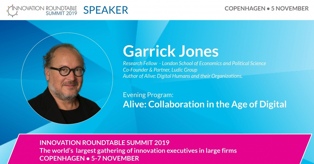 b2ap3_large_191030_Promo_GAJ_COPENHAGEN_LINKED-IN Alive: Collaboration in the Age of Digital - Garrick Jones live at the Innovation Roundtable® Summit, Copenhagen, 5 November 2019. - News