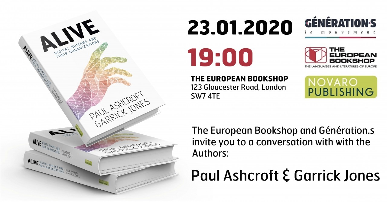 b2ap3_large_200123_ALIVE_European_Bookshop ALIVE: Digital Humans and their Organizations – A conversation with the authors Paul Ashcroft & Garrick Jones – The European Bookshop, London, 23.01.20 - Ludic Consulting